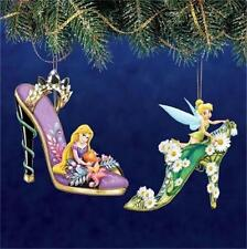 DISNEY TINKERBELL & RAPUNZEL Once Upon A Slipper Ornament Collection NEW
