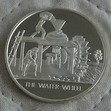 THE WATER WHEEL MANKIND INVENTIONS HALLMARKED SILVER PROOF 32mm MEDAL