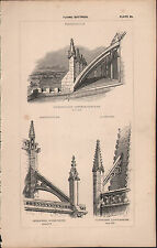 1845 ANTIQUE ARCHITECTURAL PRINT ~ FLYING BUTTRESS FOTHERINGHAY SHERBORNE DORSET