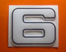 Pegatina Numero 6 3D Color Blanco Tamaño 50mm