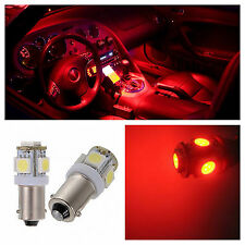 2x Red T11 BA9s LED 5-SMD LIcense Plate Light Bulb Dome Map Lamp 57 64111 53 H6W