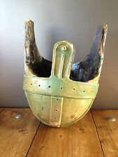 UNUSUAL LARGE CLAY STUDIO POTTERY ROMAN HELMET HANGING BASKET PLANT POT PLANTER