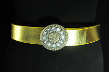 WOMEN'S GOLDEN FAUX LEATHER BELT WITH SPIRAL RHINESTONES ROWED BUCKLE (BL6)
