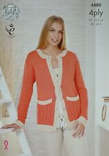 KNITTING PATTERN Ladies Long Sleeve Round Neck Cardigan Bamboo Cotton 4ply 4480