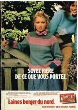 Publicité Advertising 1978 Les Laines Berger du Nord