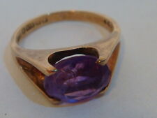 Fine AMETHYST 9ct GOLD Single Stone RING UK Size I HALLMARK  US 4 1/2