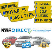 Pair of Car Number Plates Shaped rear Range Rover Rover 75 Jag XF Over 40sizes