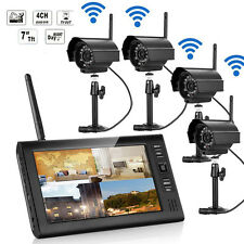 "Wireless 7"" LCD 2.4Ghz CCTV DVR Home Security System Night Vision IR-CUT Camera"
