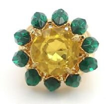 NEW UNIVERSAL VAULT ROUND CITRINE CENTER & EMERALD MARQUISE FRAME RING SZ 6 HSN