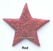 EDIBLE RED GLITTER STARS. CAKE DECORATIONS - MEDIUM 3cm x 15