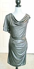 Laundry Dress Black Silver Club Cocktail Party Metallic L 10 12 ruched shift new