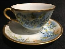 "Vintage Bone China Tea Cup/Saucer Occupied Japan ""Diamond"", Blue Flowers w/Gold"