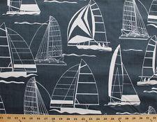 "Sailboats White Boats Nautical Sailing Blue 44"" Cotton Duck Fabric Print D331.10"