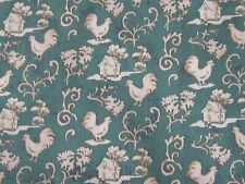 NEW 3 yards of green cottage and chicken rooster fabric material reproduction