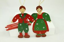Vintage Green & Red Wooden Christmas Ornament Holiday Tree Decoration Lot