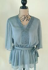 NWT American Glamour Badgley Mischka HSN Gray Silky Shimmer Blouse Size XS