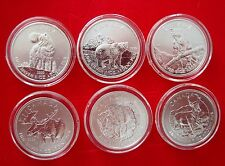 2011-2013 Canada 1oz Fine Silver Set Wolf Grizzly Cougar Moose Antelope Bison