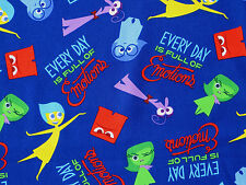 FAT QUARTER  INSIDE OUT  DISNEY MOVIE  PIXAR FILM COTTON FABRIC FULL OF EMOTIONS