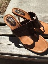 Cole Haan Collection Aurelia brown leather heels thong sandals sz 10B Italy $275