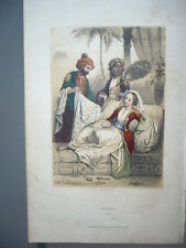 GRAVURE 1880  EGYPTE  COSTUME LITHOGRAPHIE COULEURS