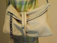 NWT Botkier Antique White Mercer Leather Belted Clutch Shoulder Bag