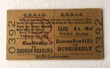 Old Vintage 1960s Irish CDRJC Railway Train Ticket Dunkineeley Dooran Road Edmon