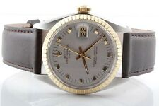 Rolex Mens 18K/SS Date - Silver Dial - Brown Strap - Quickset Model