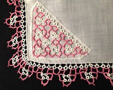 "Old Vintage  Gorgeous  Richly Tatting Lace Decorated Handkerchief, 14"" x 14"","