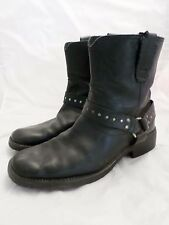 BED STU black leather motorcycle harness engineer biker boots 9
