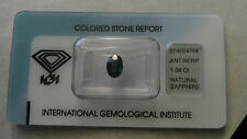 Rare IGI Certified 1.08 Carat Deep Blue Unheated Transparent Sapphire!!