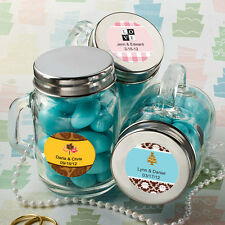 50 - Personalized Glass Mason Jars Wedding Party Shower Favors Mini Size Jars