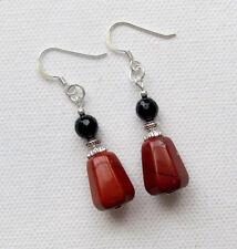 Red Jasper & Black Agate 925 Sterling Silver PIERCED Earrings Jellybean
