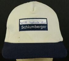 Will Work For Schlumberger White Baseball Cap Hat Adjustable Snapback Strap