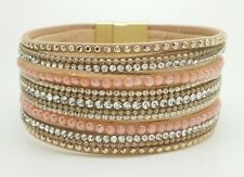 "Factory New Elle Cross 1.25"" wide beaded Blush Pink Nude Crystal Bracelet 7"""