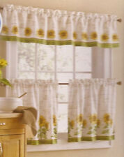 3 pc Set Country Sunflower Kitchen Window Curtains Tier & Valance Green Yellow n