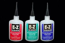 3 BOTTLES E-Z BOND SUPER GLUE (Cyanoacrylate) THIN , MEDIUM , THICK 2 OZ Each
