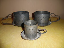 RUSTIC TIN PUNCH CANDLE HOLDERS 3PC SET