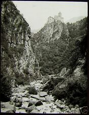 Glass Magic Lantern Slide MOUNTAIN CASTLE C1920 PHOTO NORTHERN ITALY ? NO29