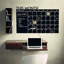 Monthly Chalkboard Chalk Blackboard Wall Sticker Decor Month Plan Calendar GS