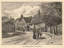 Greater London, old timber house Beckenham 1890s antique engraving ready mounted