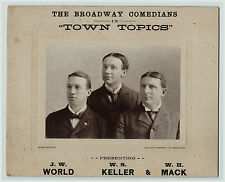 RARE Real Photo Advertising Sign Broadway Comedians Town Topics Los Angeles 1900