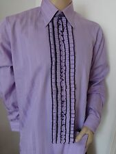 "RUFFLED LILAC TUXEDO SHIRT 70'S VTG FORMAL FRILLED DISCO RUCHED XL 46"" x 16"""