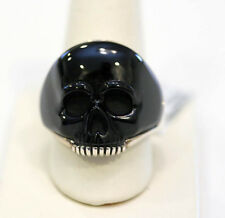 DAVID YURMAN  Silver & Black Onyx Mens Carved Skull Ring 11  $650