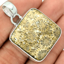 Indonesian Fossil Coral 925 Sterling Silver Pendant Jewelry FSCP88
