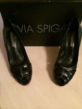 Via Spiga Papa Genuine Black Leather Padded Women's Heels SHOE Size 7