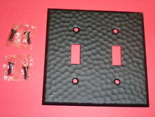 NOS! A-M-T 2-GANG HAMMERED WROUGHT IRON FINISH WALL SWITCH PLATE