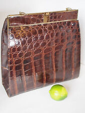 Large VTG Genuine Alligator Crocodile Skin GLOSSY Burgundy Kelly Clutch Handbag
