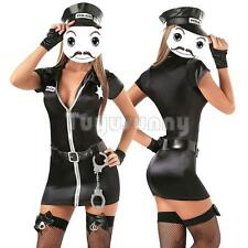 Sexy Women Police Cop Uniform Lady Halloween Cosplay Fancy Dress Clubwear Outfit