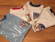 Lot 4 Vintage 70s BSA BOY SCOUTS White Blue Official Ringer 50/50% Thin T Shirt.