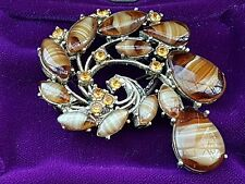 OLD VINTAGE SIGNED EXQUISITE JEWELLERY SCOTTISH CELTIC BANDED AGATE PLAID BROOCH